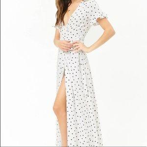 Forever 21 White Polka Dot Maxi Dress